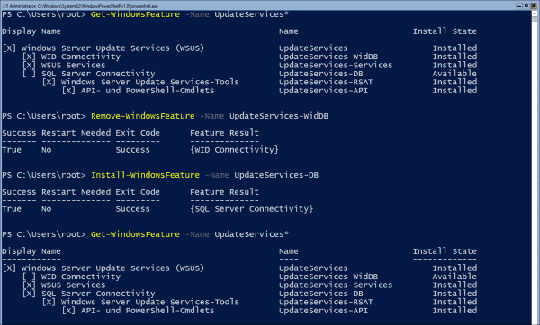 Removing WID connectivity and adding SQL Server connectivity using PowerShell