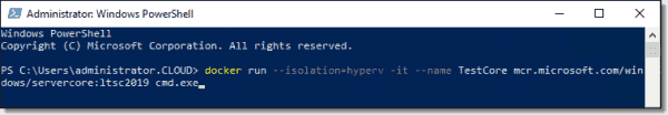 Run a container on Windows Server 2019 with Hyper V isolation