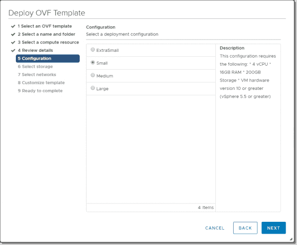 Select the deployment configuration size for the NSX T Manager appliance