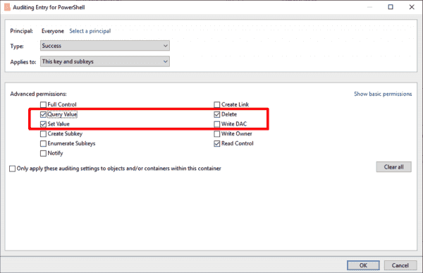 Select the type of accesses to record in the audit log