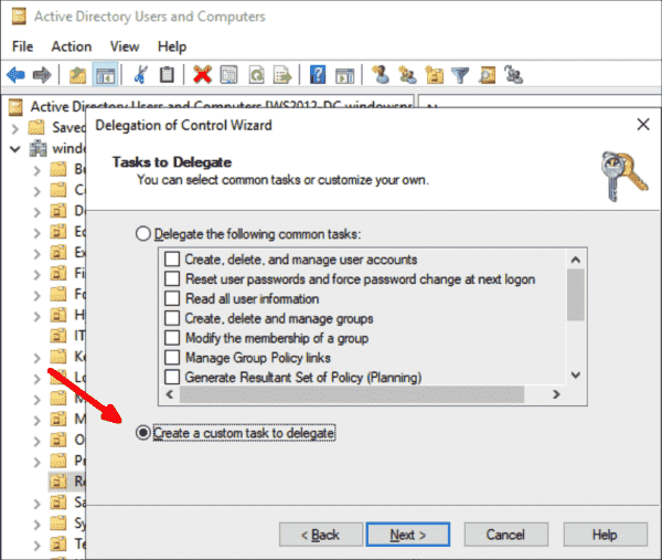 Selecting custom tasks to create for assignment