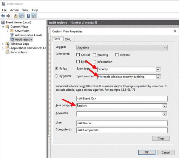 Set up a custom view in the Event Viewer to filter out audit logs for registration