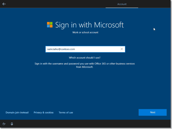 Sign in screen for Microsoft or Azure AD accounts