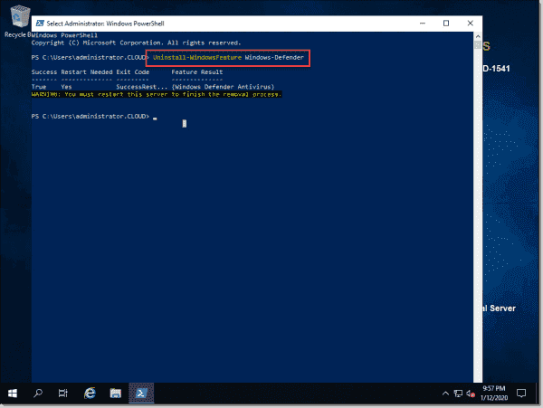Uninstall Windows Defender using PowerShell