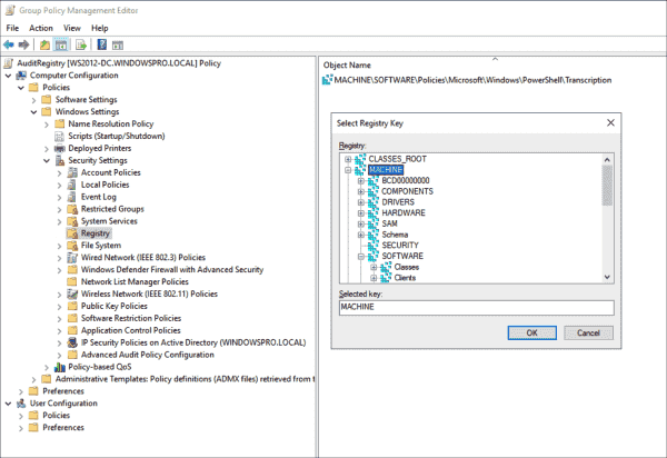 You can also change the SACL of a registry key via a GPO