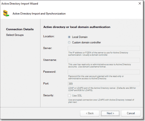 Active Directory import wizard
