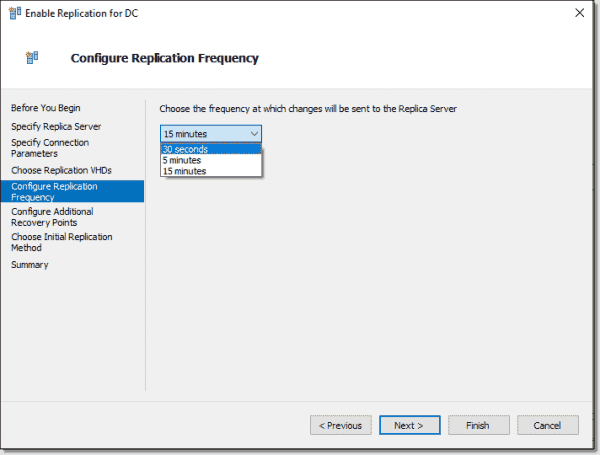 Configure replication frequency