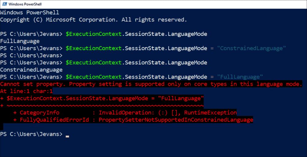 Displaying and changing the Language Mode via the variable $ExecutionContext.SessionState.LanguageMode