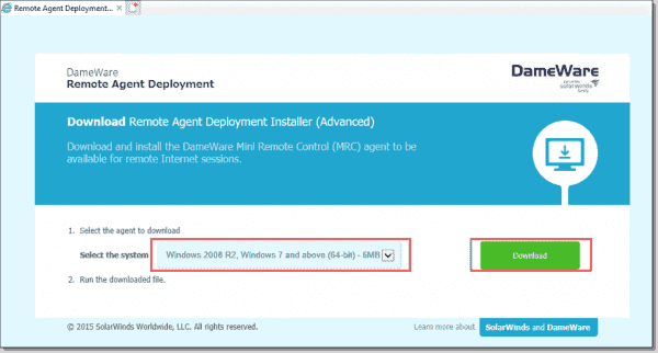 Download remote agent