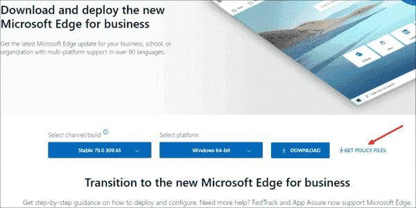 Download the administrative templates for Microsoft Edge