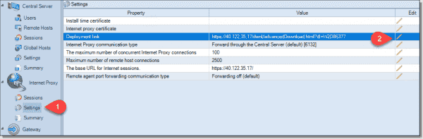 Internet proxy settings