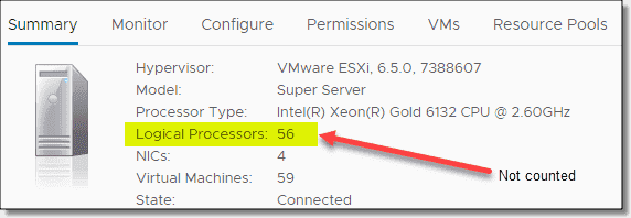 New VMware licensing does not count logical processors