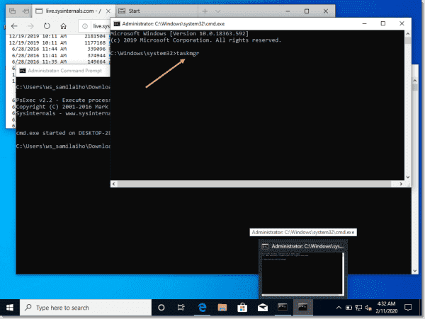 Opening Task Manager from the command prompt with SYSTEM account