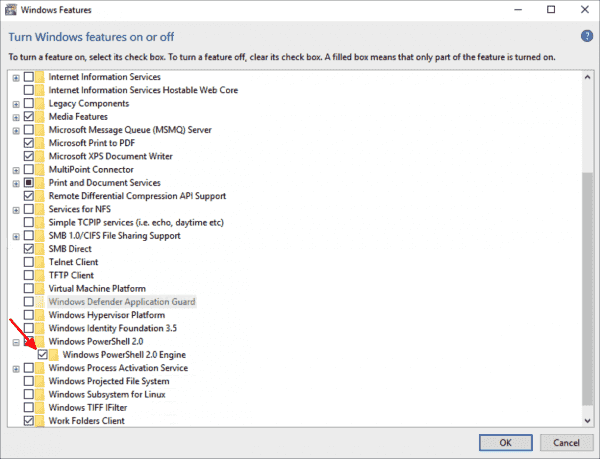 PowerShell 2.0 is an optional feature starting with Windows 8 and Server 2012 and is enabled by default