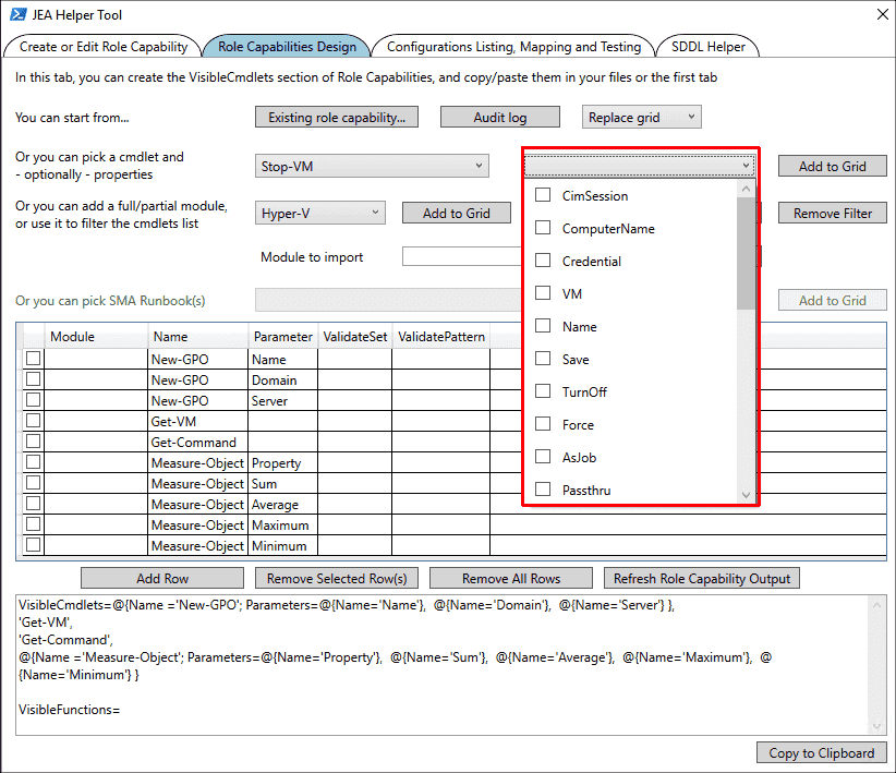 Selecting the allowed parameters of a cmdlet for JEA