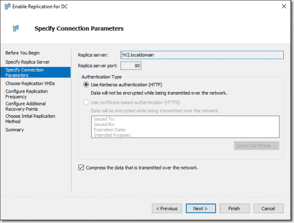 Specify connection parameters