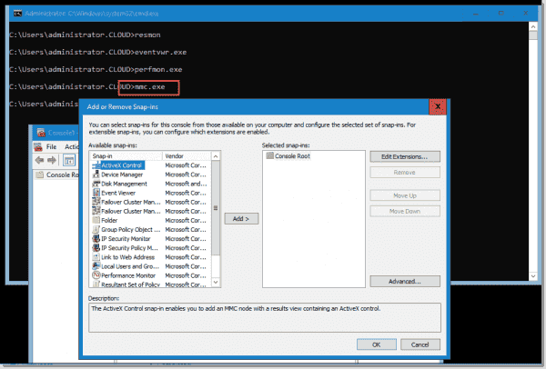 Using the MMC.exe console to launch a number of troubleshooting tools in Windows Server 2019 Core