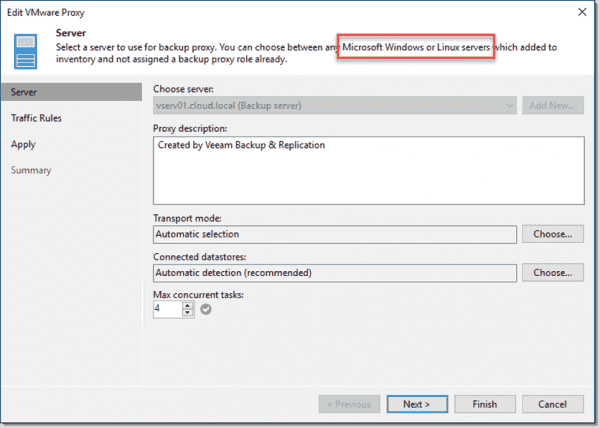 Veeam Backup & Replication v10 allows using Linux backup proxies