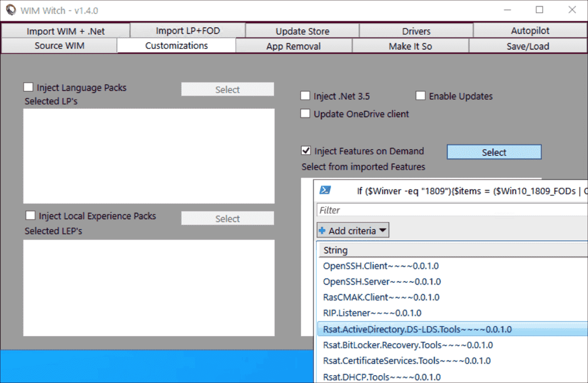 Adding features on demand to the image, such as the RSAT