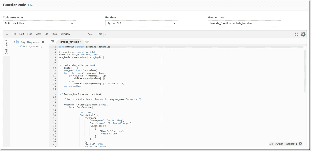 Adding the Python code to the Function code section