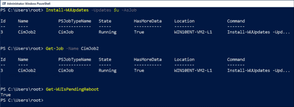 After installing the updates, you can query a pending reboot with Get WUIsPendingReboot