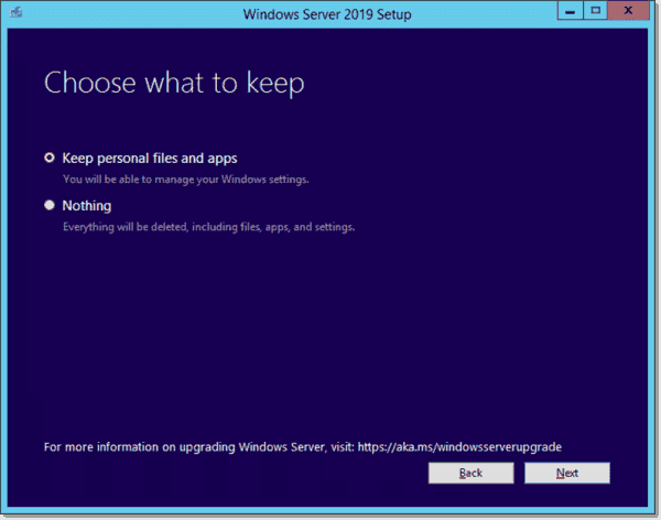 Choose between an upgrade and clean install with Windows Server 2019 installer