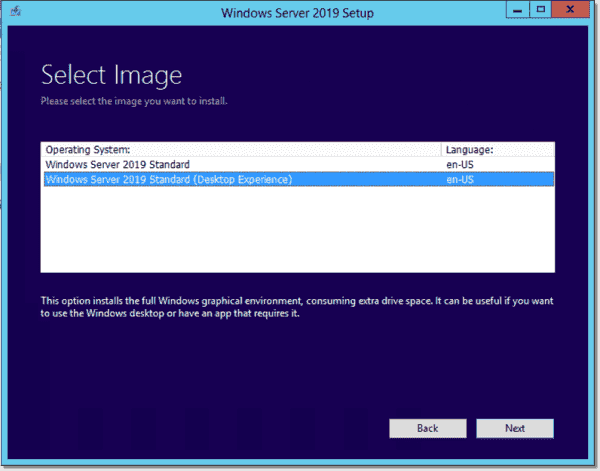 Choose the Windows Server 2019 image you want to upgrade to