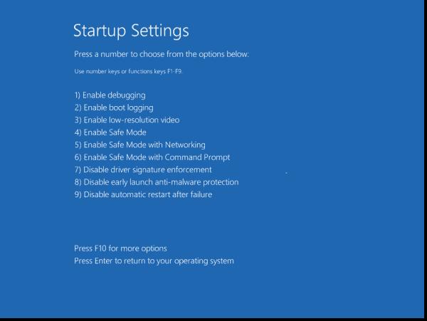 Choosing Safe Mode to avoid Windows Defender