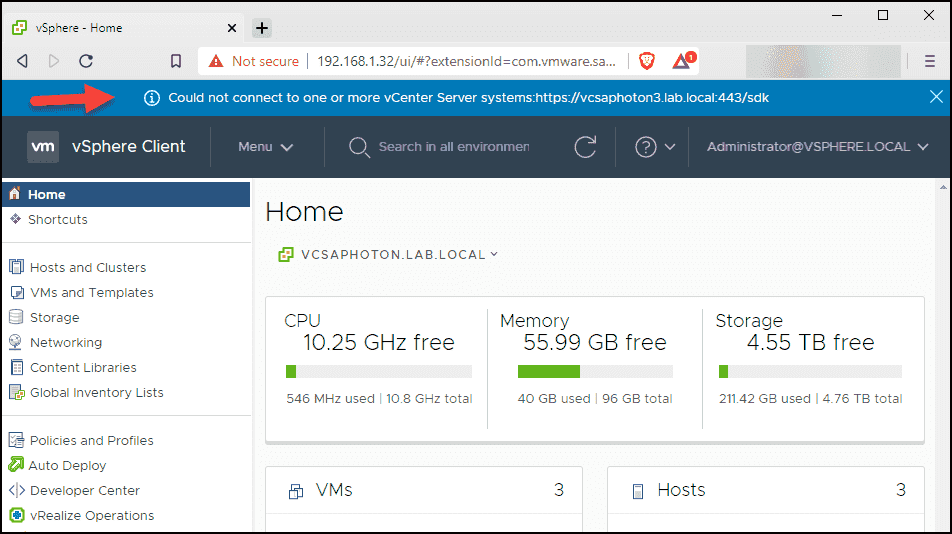 Could not connect to one or more vCenter Server systems