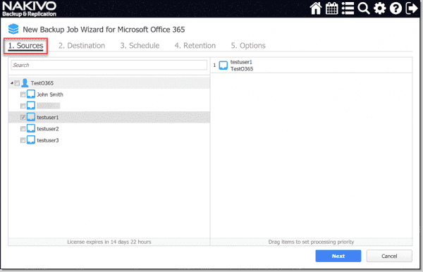 Creating a new backup for an Office 365 mailbox