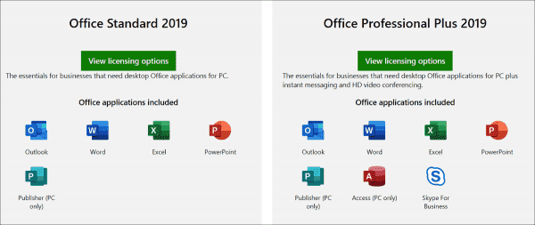 Editions of Office 2019 for businesses