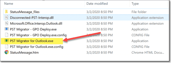 Files contained in the PST Migrator for Outlook ZIP package