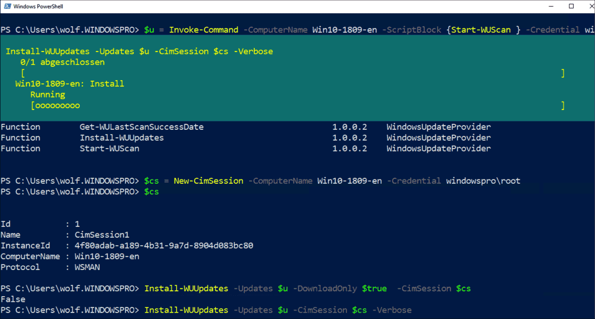 Scan, download and install Windows Updates with PowerShell