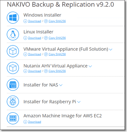 NAKIVO offers many different install options