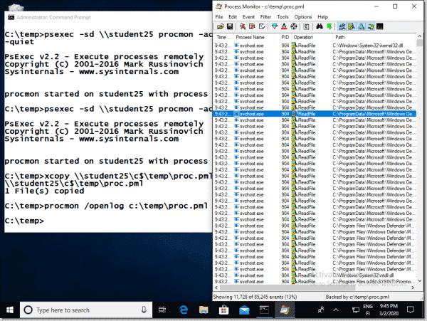 Opening a Procmon trace file previously captured from the remote machine