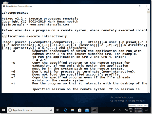 PsExec can be used to launch processes on remote Windows machines