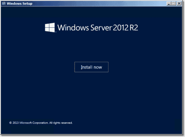 Running the in place upgrade to Windows Server 2012 R2