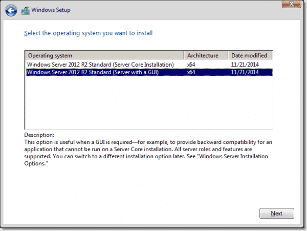 Select the operating system you want to install with Windows Server 2012 R2
