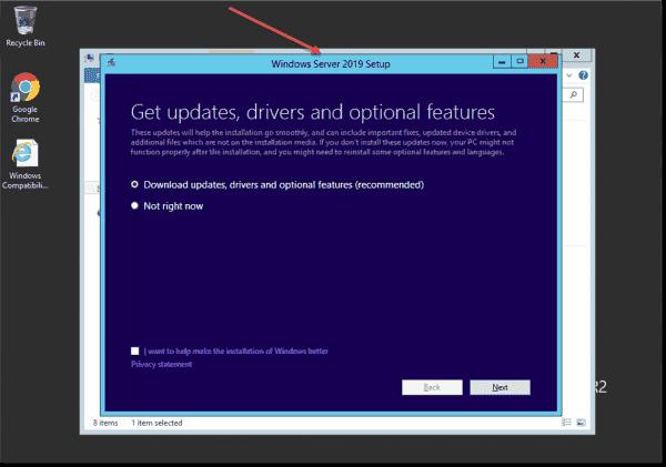 Starting the Windows Server 2019 upgrade in Windows Server 2012 R2