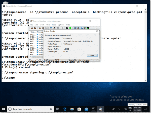 System Details shows basic info of the trace