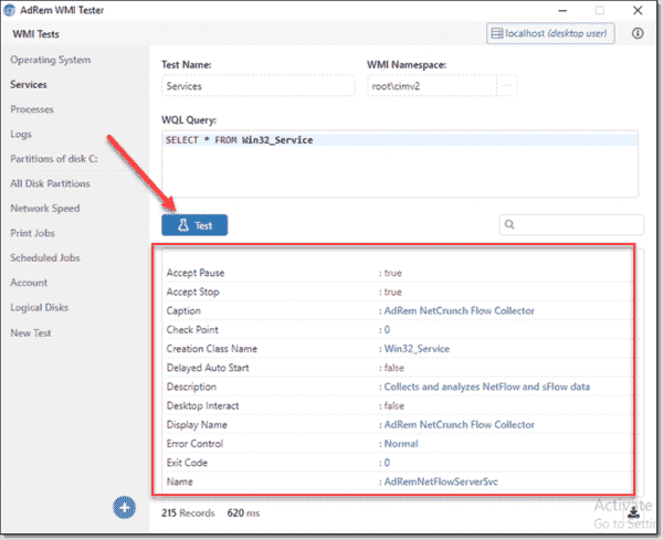 Testing a WQL query will display the results in the bottom pane of the WMI Tester app