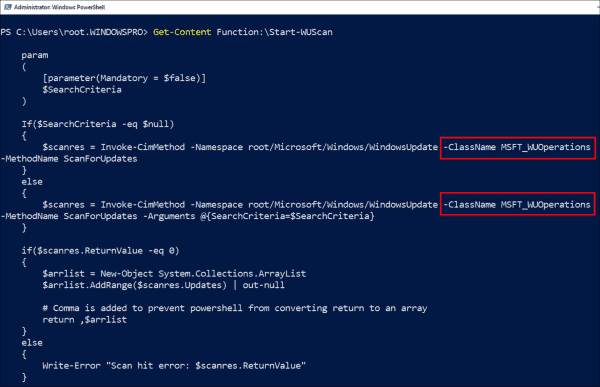 The functions of the WindowsUpdateProvider module use the methods of the CIM class MSFT WUOperations