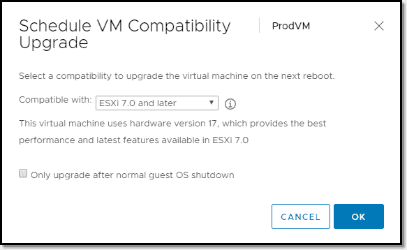 Upgrading VM Compatibility to Virtual Hardware 17