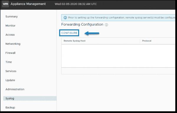 VMware VCSA configure syslog