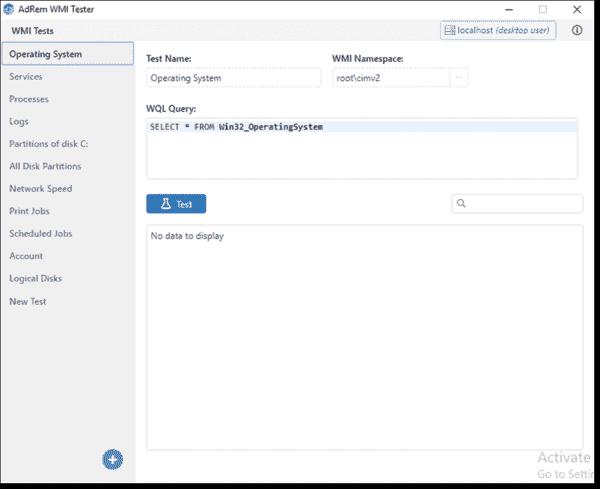 WMI Tester includes several WMI WQL queries by default