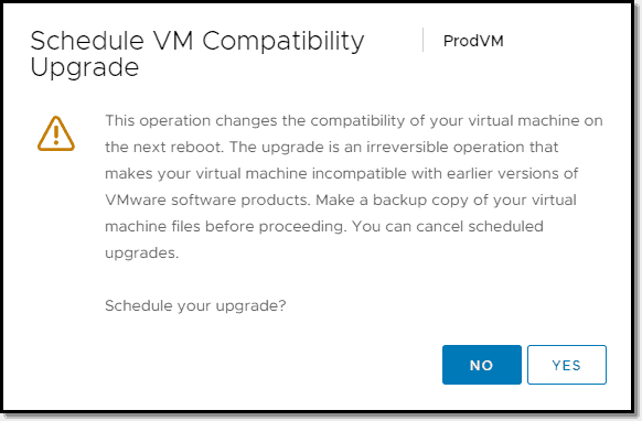 Wizard for scheduling an upgrade of VM compatibility