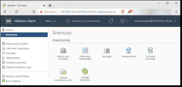 vCenter Server client