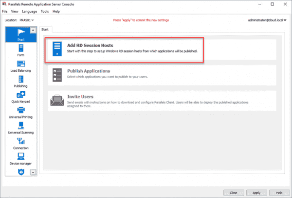 Add RDSHs to the Parallels environment