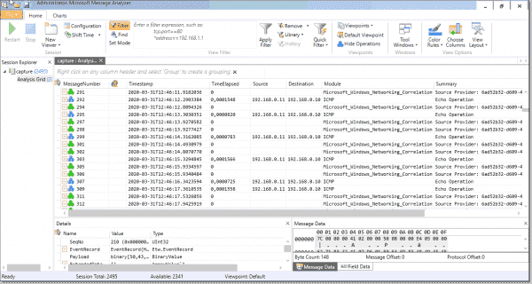 Capture file opened in Message Analyzer