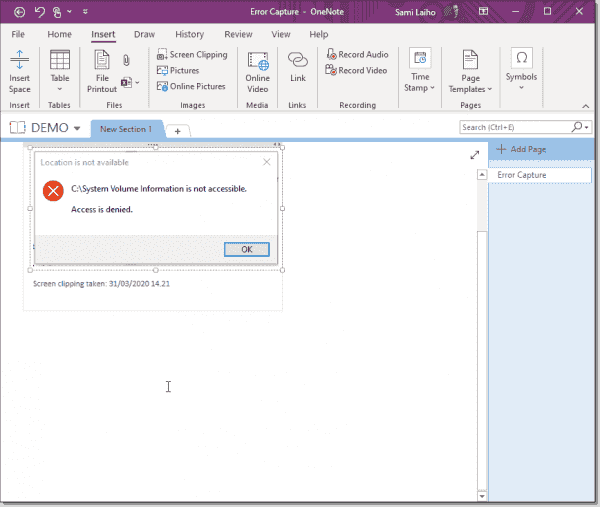 Capturing an error message from OneNote
